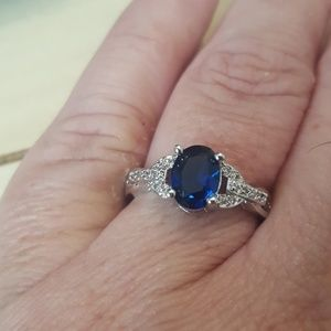 Jewelry - Gorgeous dainty .925 SS Blue Sapphire Ring